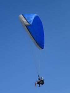 Michael soaring through the blue skies.