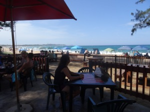 Sally taking in the view at the beach bar.